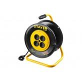 Удлинитель на катушке Stayer MS 207, 30 м, 2200 Вт, 4 гнезда..